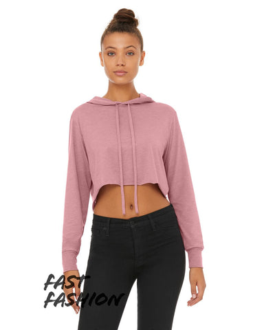 Fast Fashion Women's Triblend Cropped Long Sleeve Hooded Tee