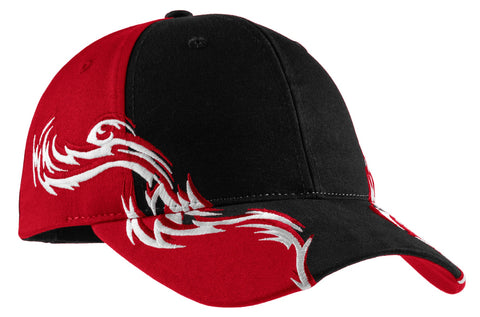 Colorblock Racing Cap with Flames