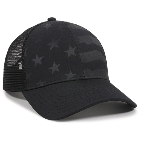 Debossed American Flag Mesh Back