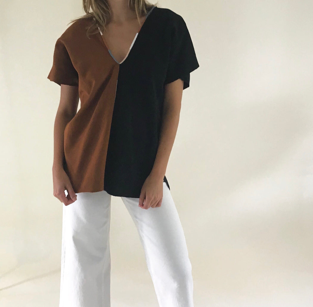 Agnes Top Chestnut & Black