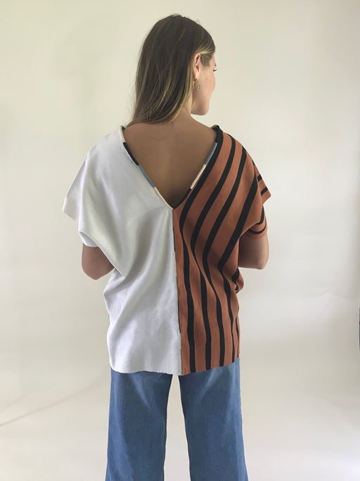 Agnes Top Tobacco/Black Stripes & Natural