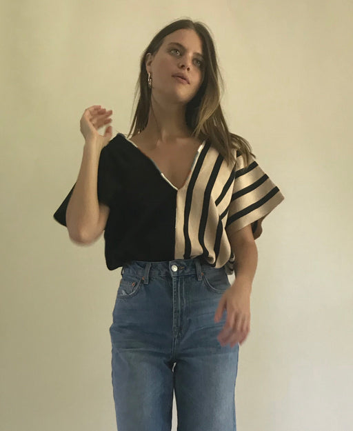 Agnes Top Nude/Black Stripes & Black