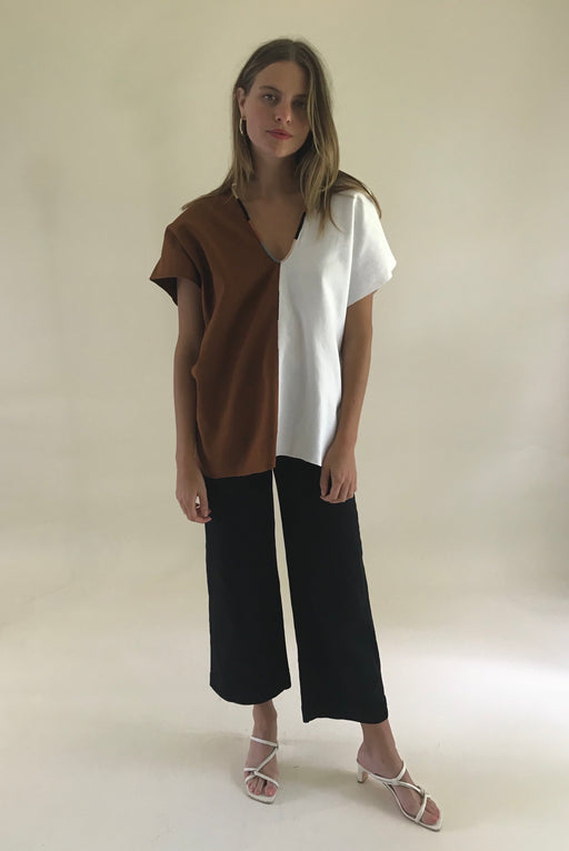 Agnes Top Chestnut & White