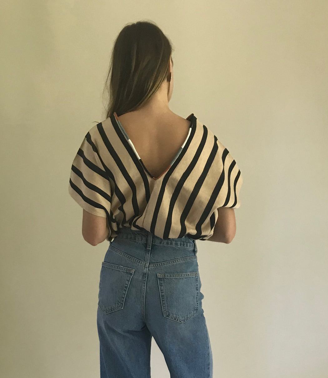 Alma Top Nude & Black Stripes