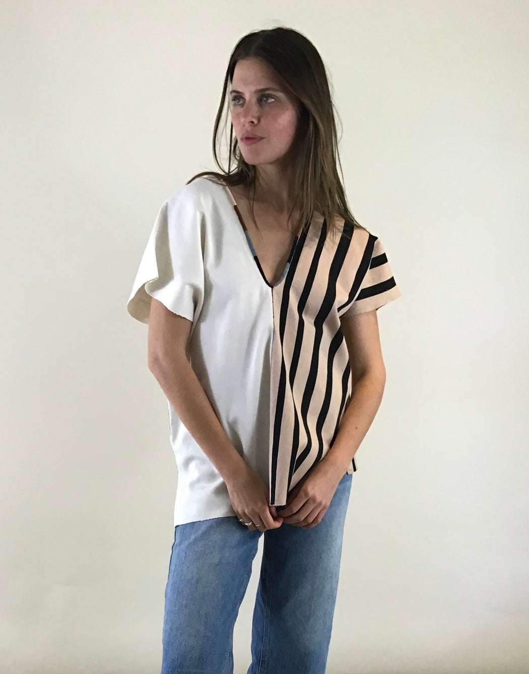 Agnes Top Nude/Black Stripes & Natural