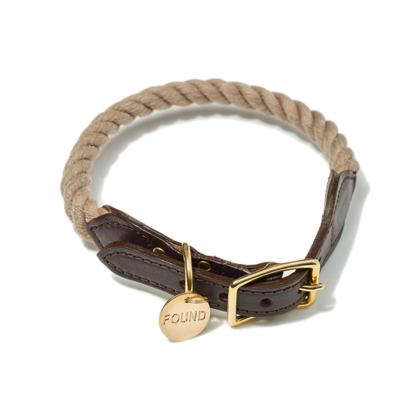 Found My Animal Dark Tan Rope & Leather Collar for Dogs