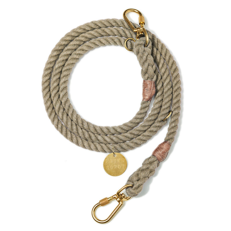 Found My Animal Dark Tan Adjustable Rope Leash for Dogs