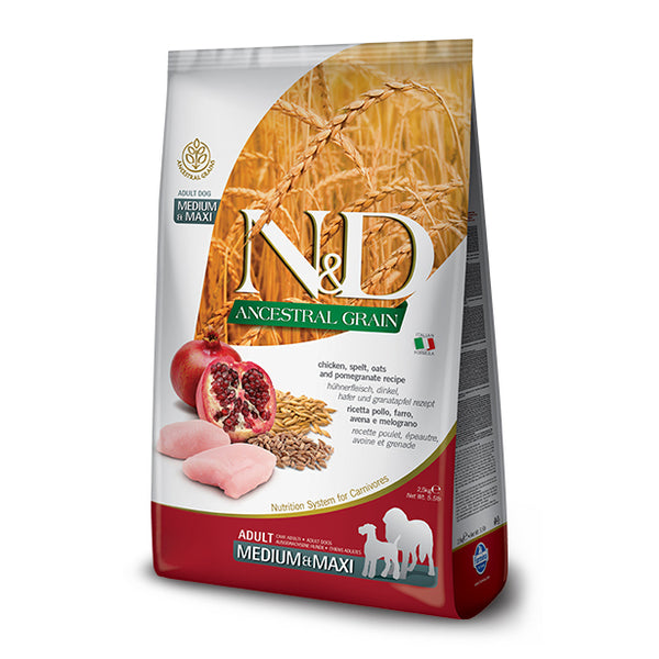 Farmina N&D Ancestral Grain Chicken & Pomegranate Medium & Maxi Dog Food