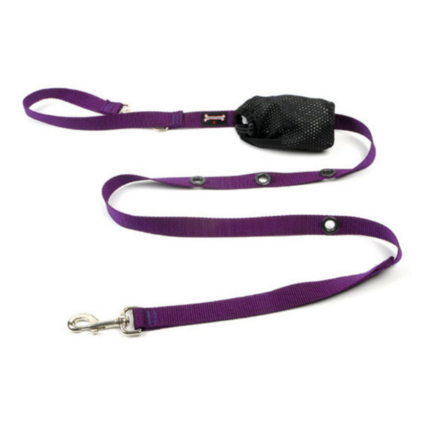 Smoochy Poochy Purple Nylon Hands Free 6' Leash for Dogs