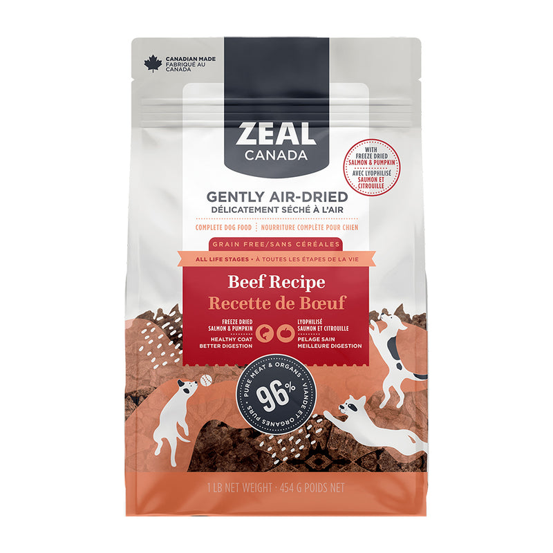 Zeal Canada Gently Air-Dried Beef with Freeze-Dried Salmon & Pumpkin Dog Food