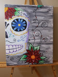 """Sugar Skull"" 16"" X 20"" Acrylic Painting on a Wrapped Canvas"