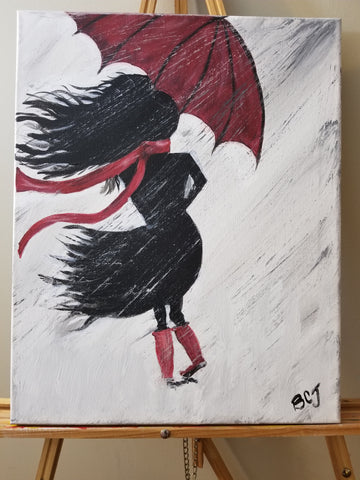 """Caught in the Rain"" 16"" x 20"" Acrylic Painting on a Wrapped Canvas"