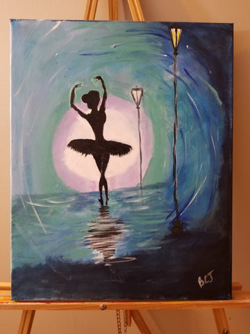 """She Dances at Night""  16"" x 20"" Acrylic Painting on a Wrapped Canvas"