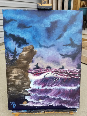 """The Dark Sea"" 18"" x 24"" Acrylic Painting on a Wrapped Canvas"
