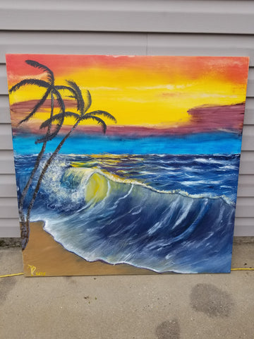 """Summer Days in Paradise"" 36"" x 36"" Acrylic Painting on a Wrapped Canvas"