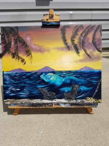 """Sea Breeze "" 11"" x 18"" Acrylic Painting on a Wrapped Canvas"