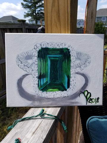 """Emerald at her best"" 9x12 Acrylic Painting on a Wrapped Canvas"