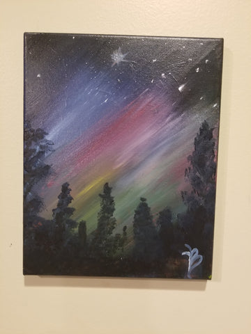 """Stary night"" 8x10 Acrylic Painting on a Wrapped Canvas"