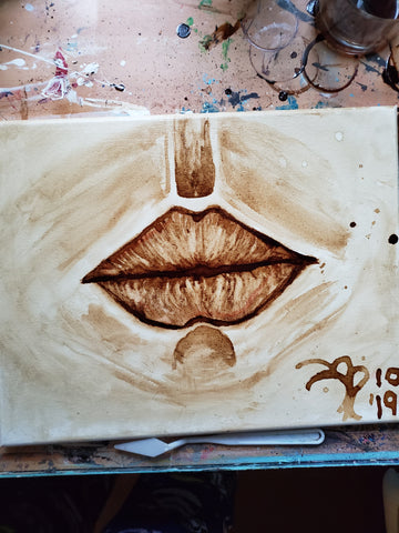 """Kiss of Goodness "" 11x14 Coffee Art"