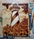 """Joe's Lighthouse ""  coffee art 8x10"