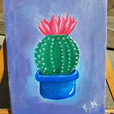 """Cacti Rose"" 8"" x 10"" Acrylic Painting on a Wrapped Canvas"