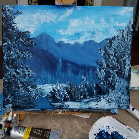 """Crisp Mountain Mornings"" 16"" X 20"" Acrylic Painting on a Wrapped Canvas"