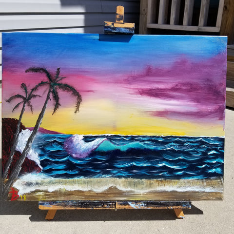 """Dreaming of Summer nights"" 18"" x 24"" Acrylic Painting on a Wrapped Canvas"