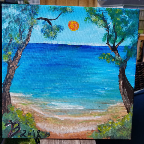 """Paradise"" 8×8 Acrylic Painting on a Wrapped Canvas"