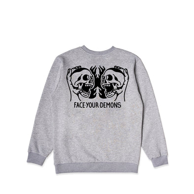 Face Your Demons Grey Crew Sweater