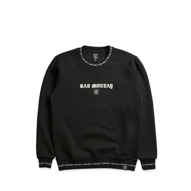 Barbed Cuff Black Crew Sweater