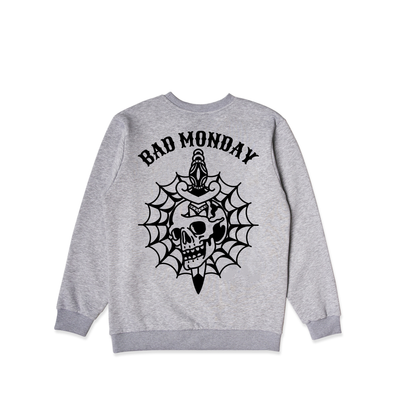 Skull Web Grey Crew Sweater