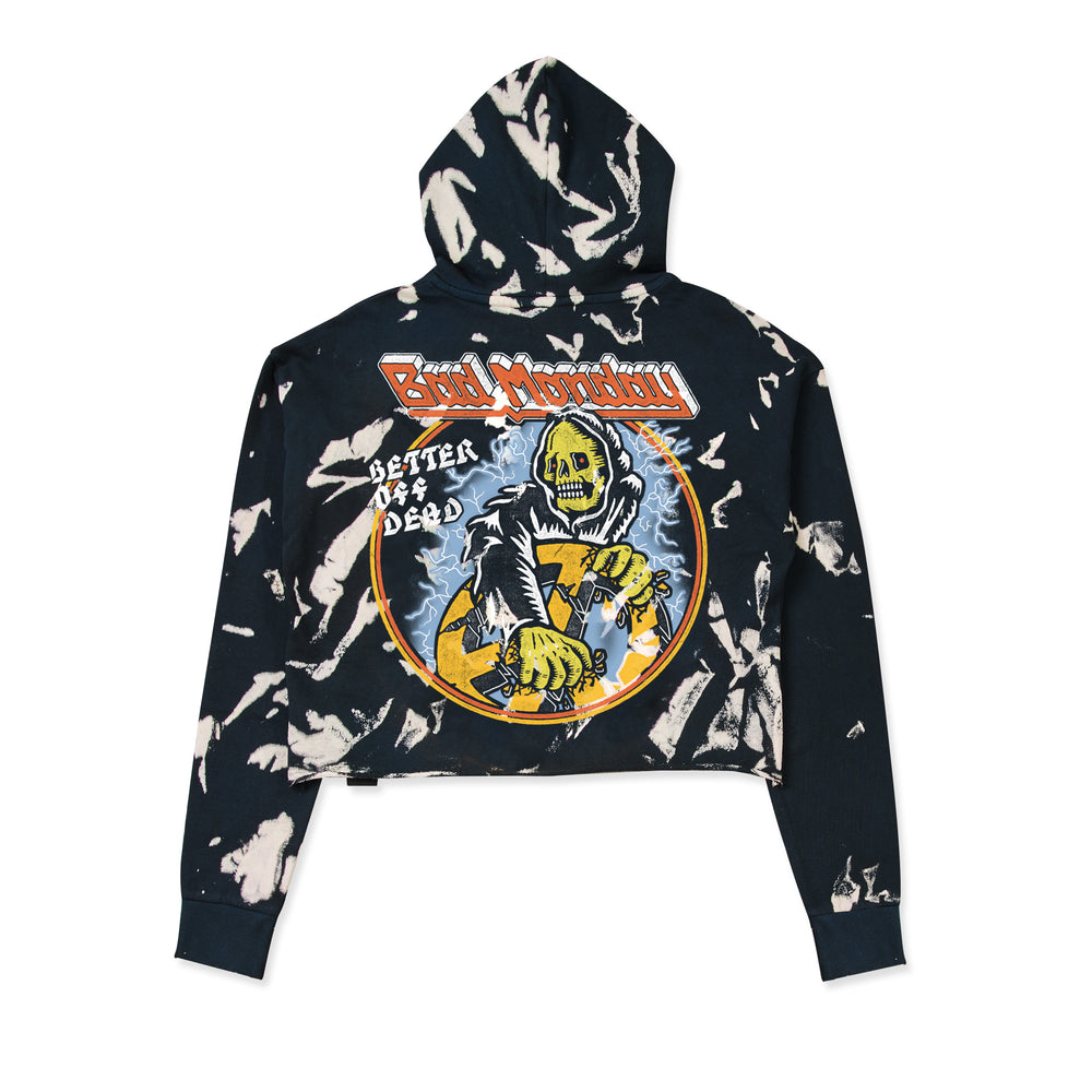 Acid Wash Better Off Dead Crop Hoodie