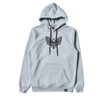 Death Moth Embroidered Grey Hoodie
