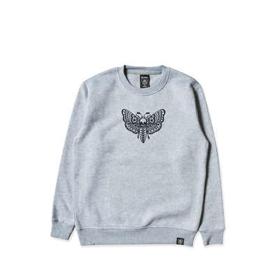 Death Moth Embroidered Grey Crew Sweater