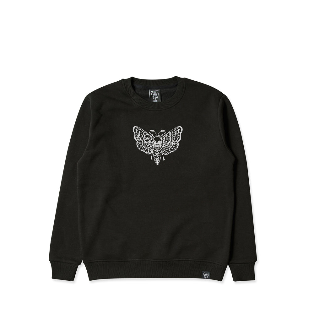 Death Moth Embroidered Black Crew Sweater