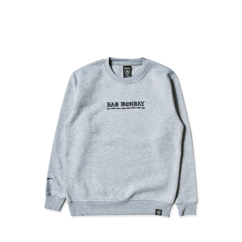 Core Embroidered Grey Crew Sweater
