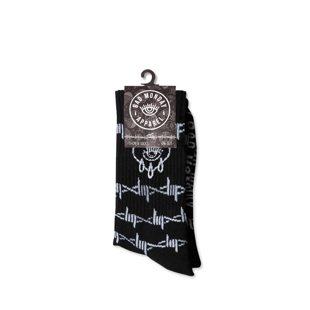 Black Barbed Wire Crying Heart Socks
