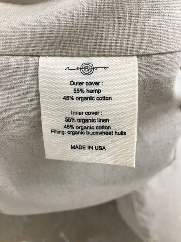 renoo label for organic meditation cushion