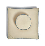 Dune natural and blue, organic cotton, round and square meditation cushion set. Zafu & Zabuton.