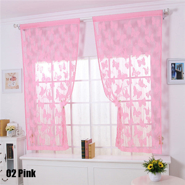 1Pc Simple Design Lovely Butterfly Line Curtains for Living Room ...