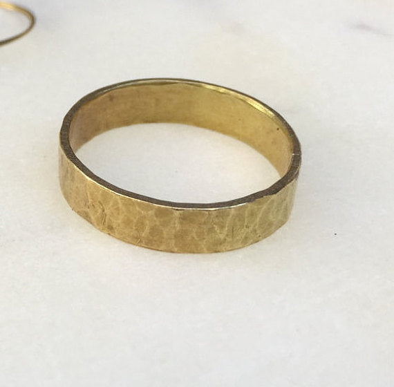 Hudson Hammered Brass Ring