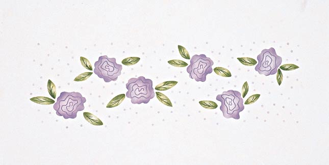 #122 Girly's Flower Border Stencil