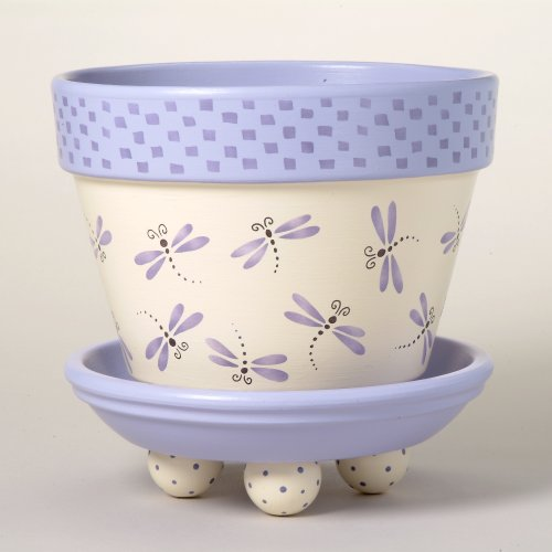 #166 Dragonfly Dance Flower Pot Stencil