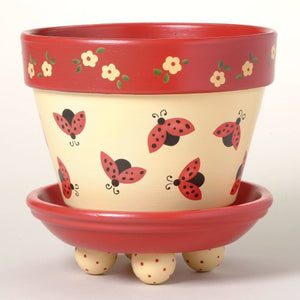 #169 Lady Bug Dance Flower Pot Stencil