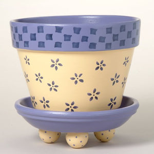 #172 Daisy's Checks Flower Pot Stencil