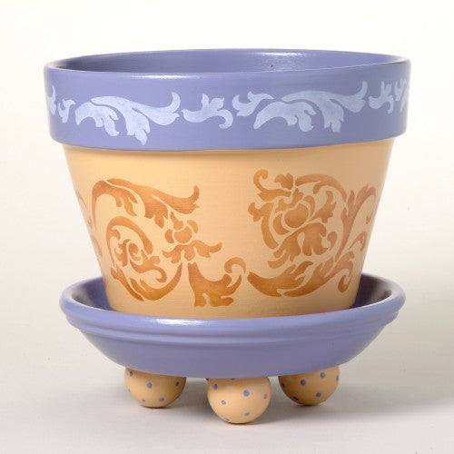 #174 Flourish Scrolls Flower Pot Stencil