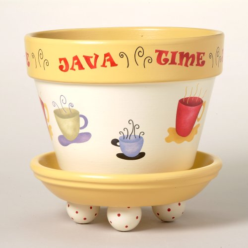 #198 Java Time Flower Pot Stencil