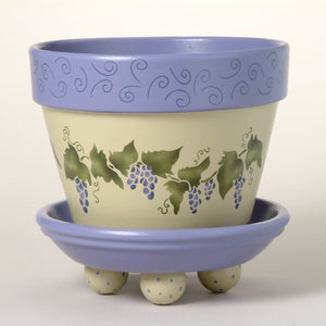 #199 Wild Grapes Flower Pot Stencil