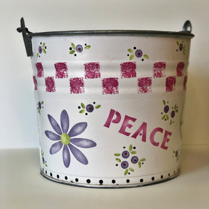 Stenciled Peace & Love Bucket