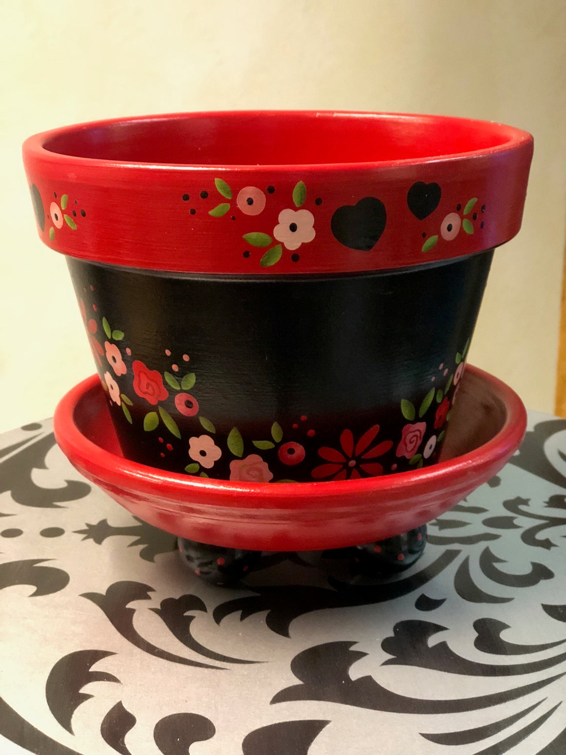 Valentine Stenciled Flower Pot